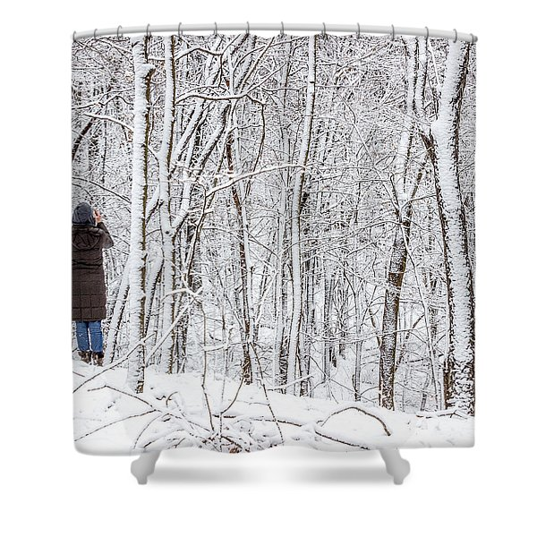 Woman In A Snow Covered Forest Shower Curtain