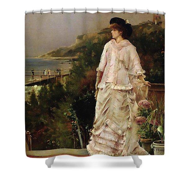 Woman On A Terrace Shower Curtain