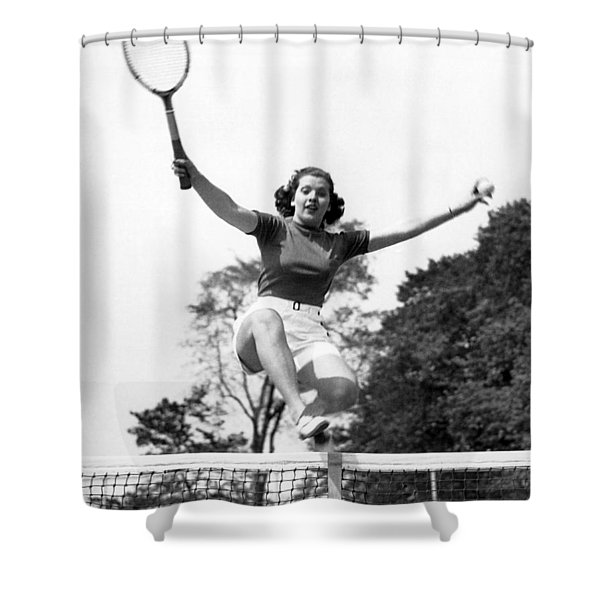 Woman Player Leaping Over Net Shower Curtain