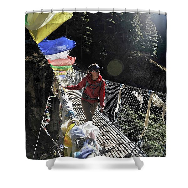 Woman Trekker In The Khumbu Region Shower Curtain