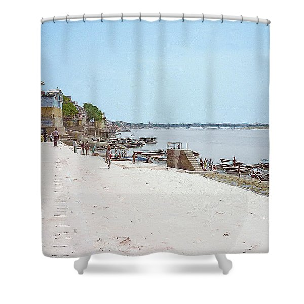 Woman Walking Along The Ganges River Shower Curtain