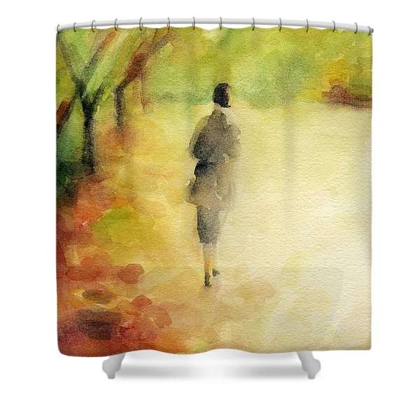 Woman Walking Autumn Landscape Watercolor Painting Shower Curtain