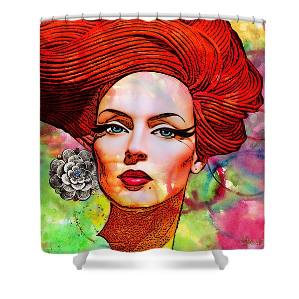 Woman With Earring Shower Curtain