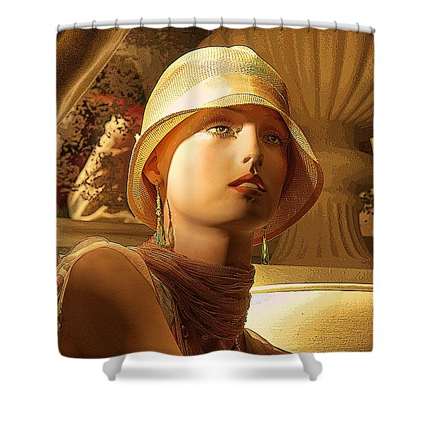 Woman With Hat Shower Curtain