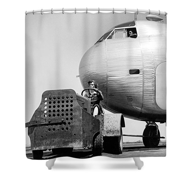 Woman Worker During World War Two Shower Curtain