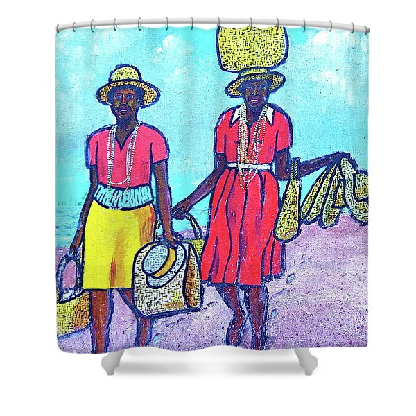 Women On Beach At Grenada Shower Curtain
