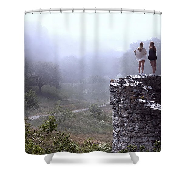 Women Overlooking Bright Foggy Valley Shower Curtain