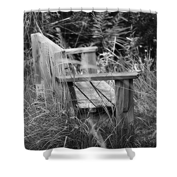 Wood Bench Shower Curtain