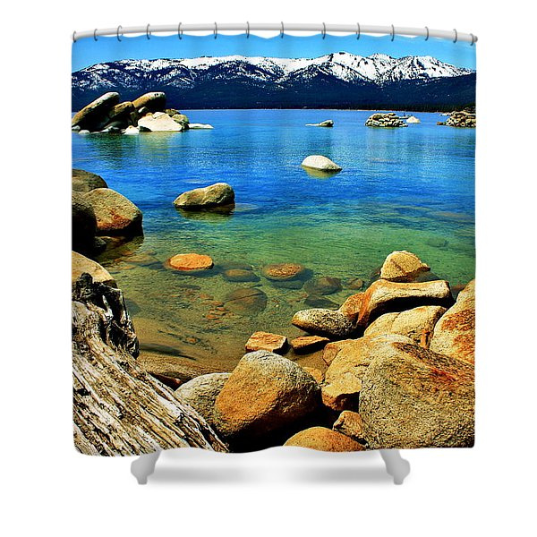 Wood Stone Water Shower Curtain