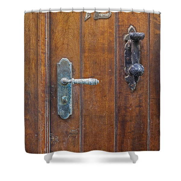 Shower Curtain featuring the photograph Wooden Door In Old San Juan by Bryan Mullennix