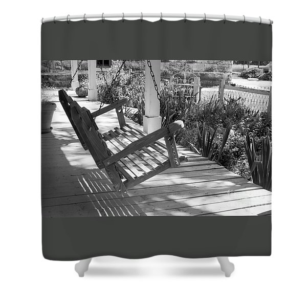 Wooden Front Porch Swing Shower Curtain