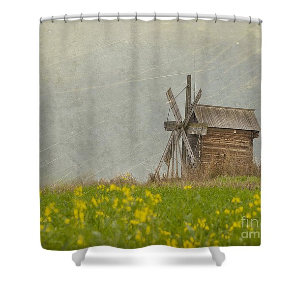Old Wooden Windmill.  Kizhi Island.  Russia Shower Curtain
