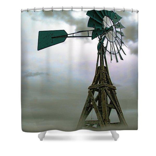 Wooden Windmill Shower Curtain