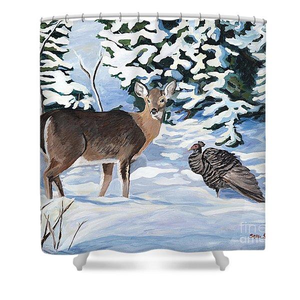 Woodland Creatures Meet Shower Curtain