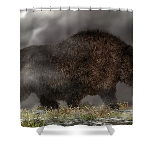 Woolly Rhinoceros Shower Curtain