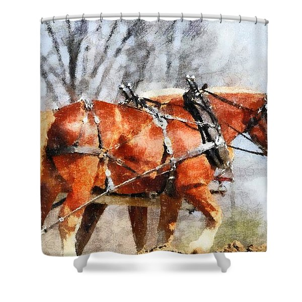 Work Horses In The Field Shower Curtain