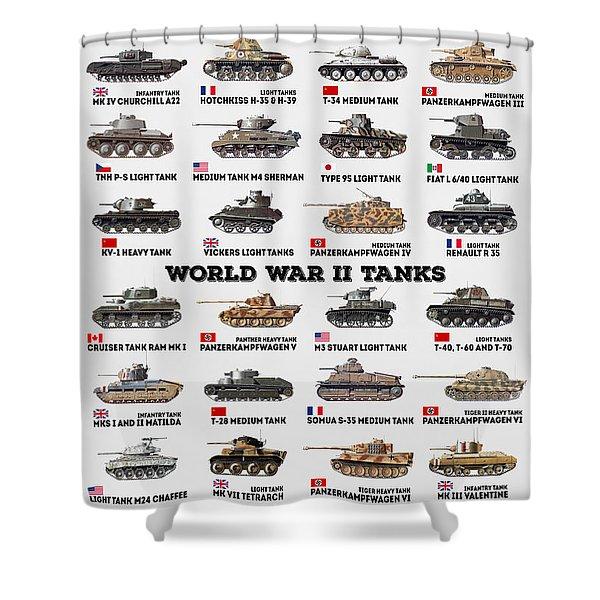 World War II Tanks Shower Curtain