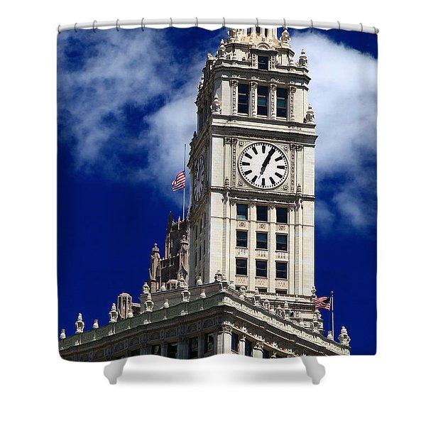 Wrigley Building Clock Tower Shower Curtain