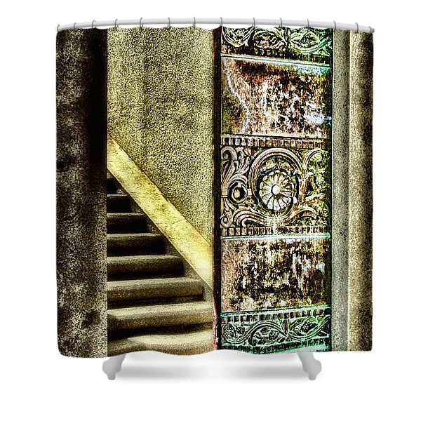 Wrigley's Tower Bronze Doors By Diana Sainz Shower Curtain