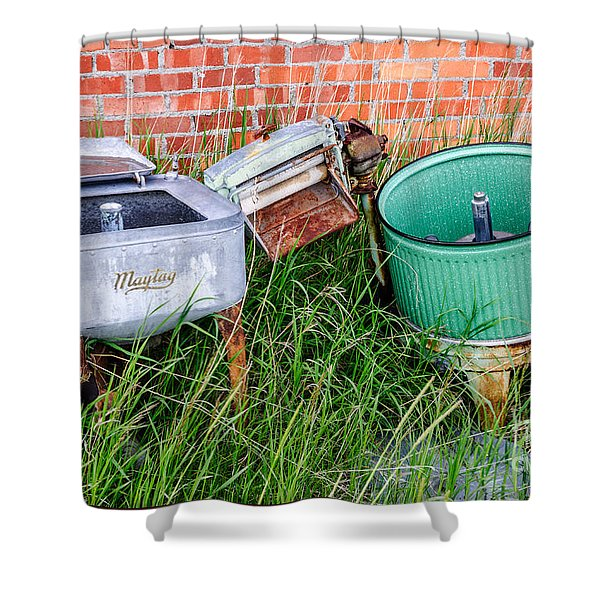 Wringer Washer And Laundry Tub Shower Curtain