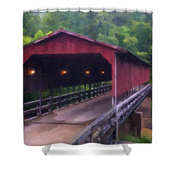 Wv Covered Bridge Shower Curtain