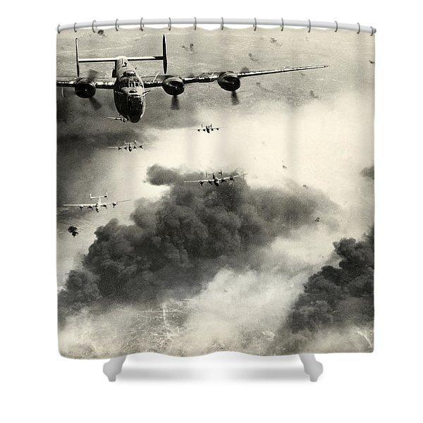 Wwii B-24 Liberators Over Ploesti Shower Curtain