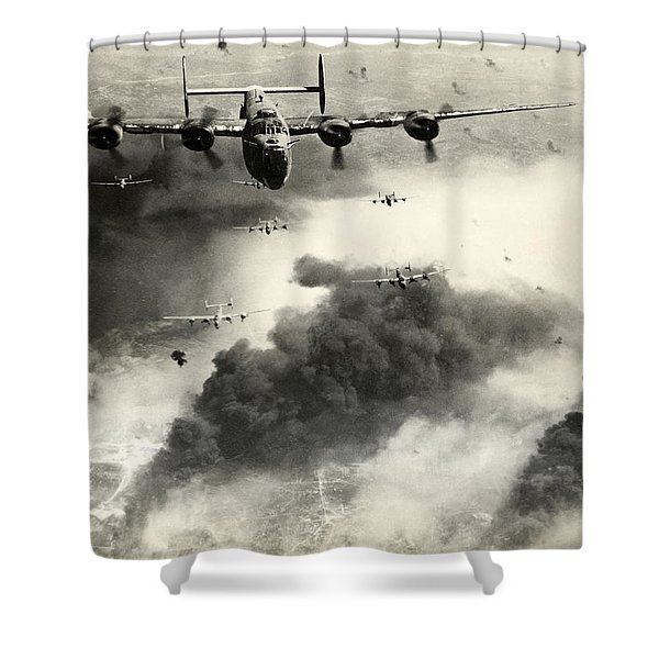Wwii B-24 Liberators Over Ploesti Shower Curtain