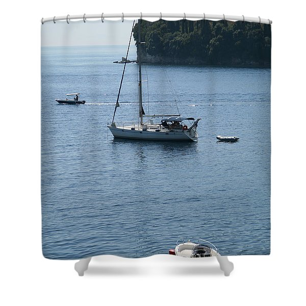 Yachts At Anchor Shower Curtain