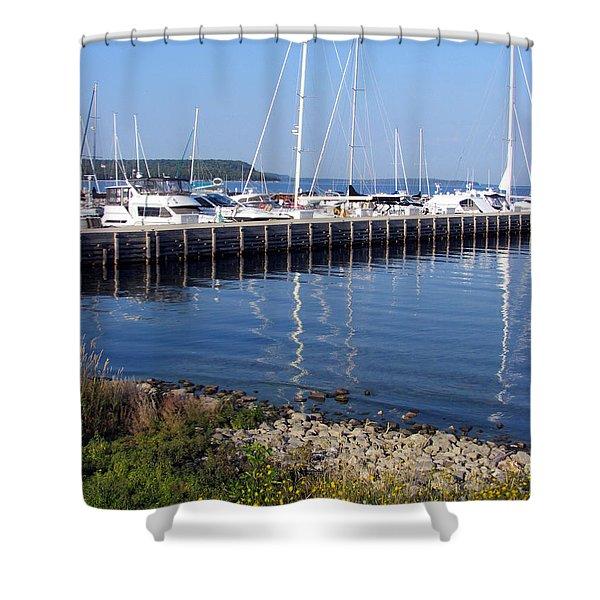 Yachtworks Marina Sister Bay Shower Curtain