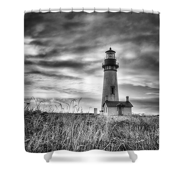 Yaquina Head Lighthouse Black And White Shower Curtain