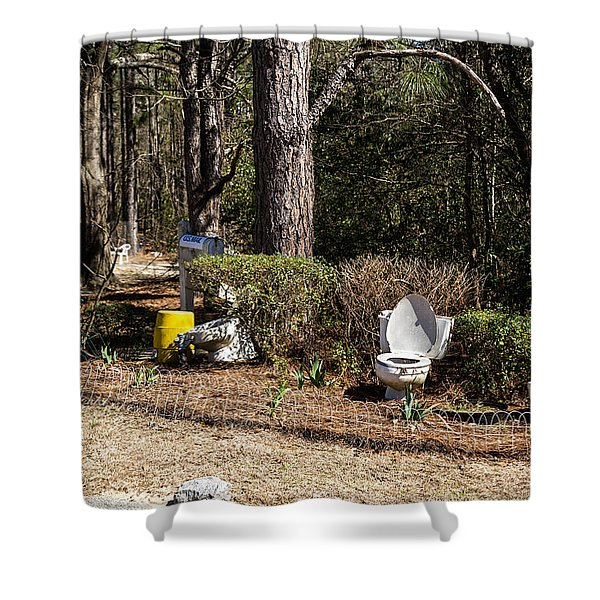 Yard Art Hwy 21 South Shower Curtain