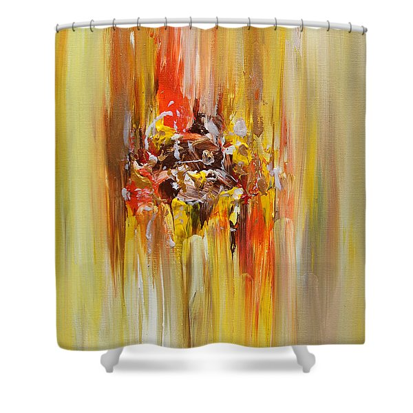 Yellow Abstract Landscape Shower Curtain