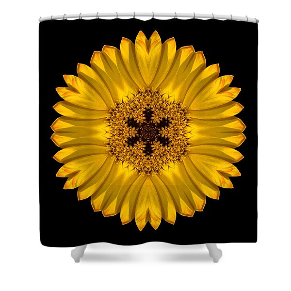Yellow African Daisy Flower Mandala Shower Curtain