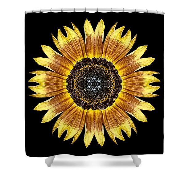 Yellow And Brown Sunflower Flower Mandala Shower Curtain