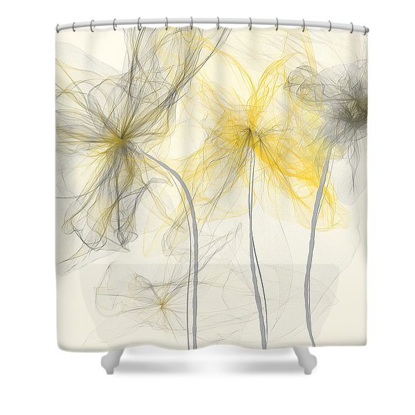 Yellow And Gray Flowers Impressionist Shower Curtain