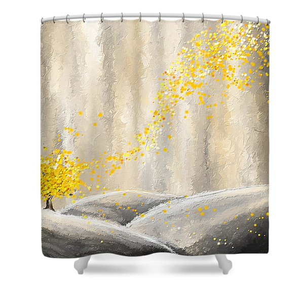 Yellow And Gray Landscape Shower Curtain