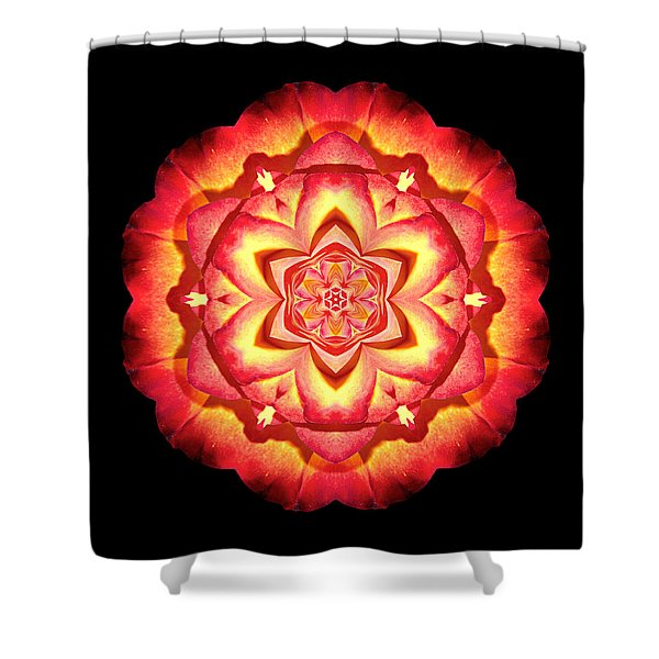 Yellow And Red Rose II Flower Mandalaflower Mandala Shower Curtain