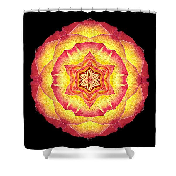 Yellow And Red Rose IIi Flower Mandala Shower Curtain