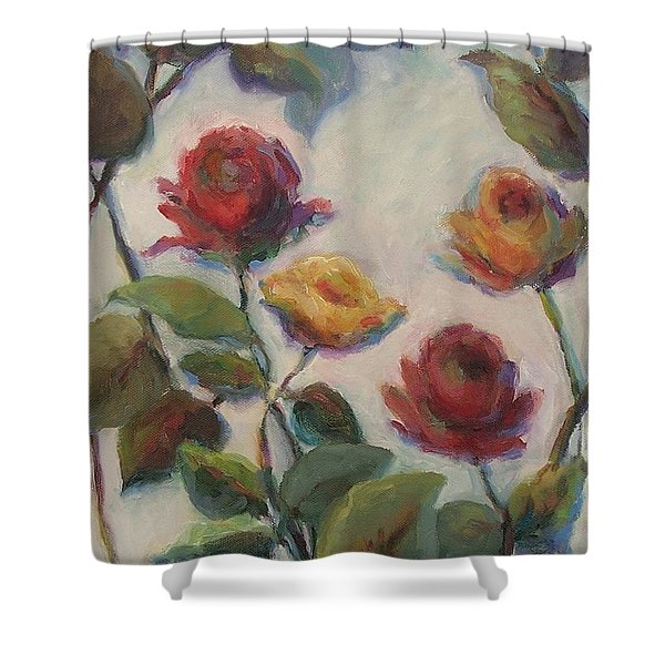 Yellow And Red Roses  Shower Curtain