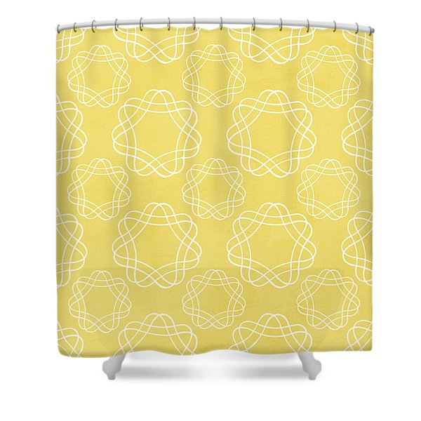 Yellow And White Geometric Floral  Shower Curtain