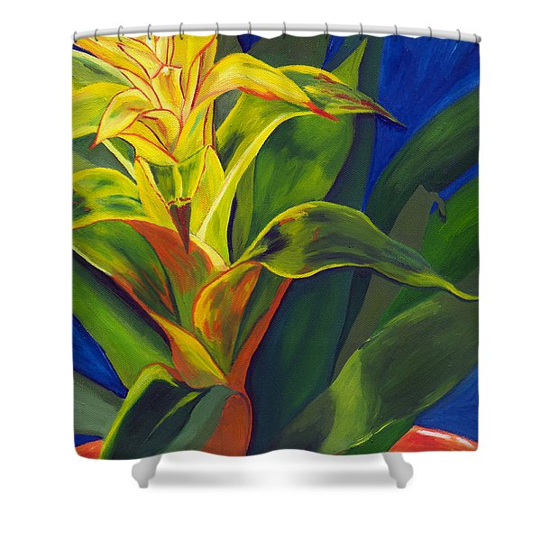 Yellow Bromeliad Shower Curtain
