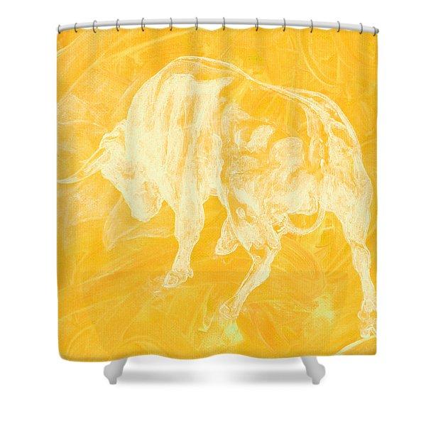 Yellow Bull Negative Shower Curtain
