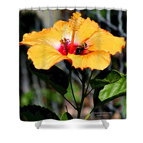 Yellow Bumble Bee Flower Shower Curtain