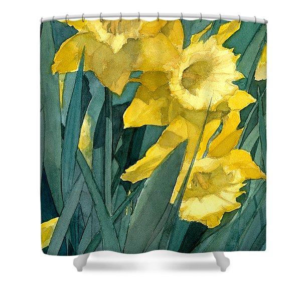 Watercolor Painting Of Blooming Yellow Daffodils Shower Curtain