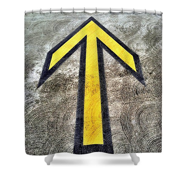 Yellow Directional Arrow On Pavement Shower Curtain