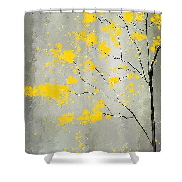 Yellow Foliage Impressionist Shower Curtain
