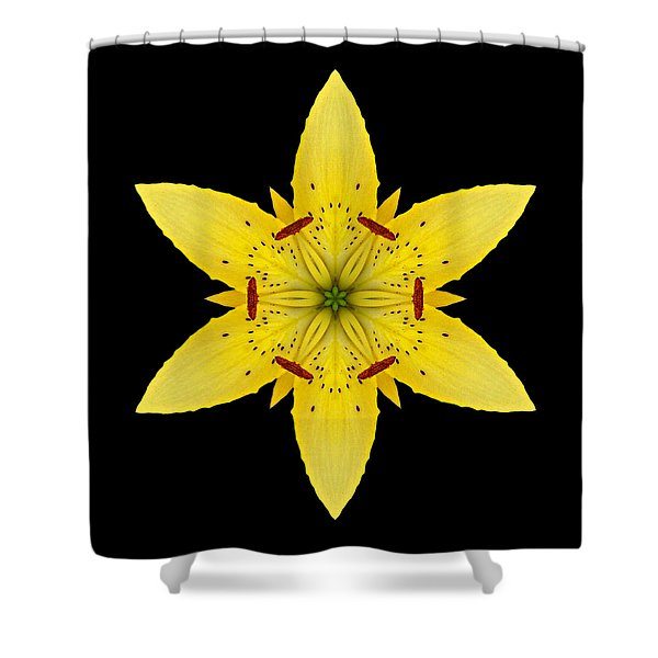 Yellow Lily I Flower Mandala Shower Curtain