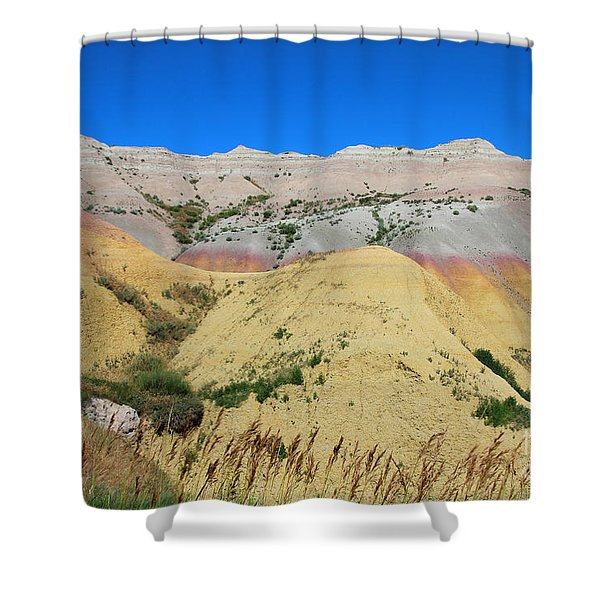 Shower Curtain featuring the photograph Yellow Mounds Badlands National Park by Jemmy Archer
