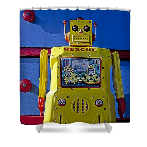Yellow Robot In Front Of Drawers Shower Curtain