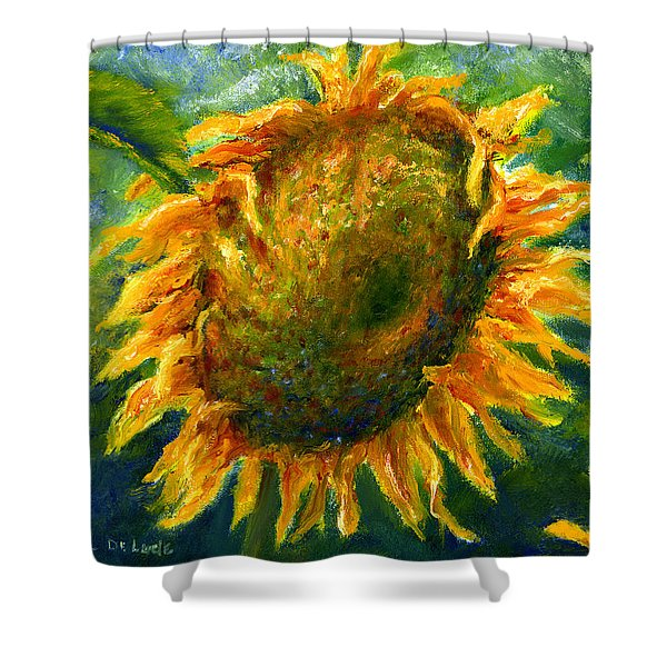 Yellow Sunflower Art In Blue And Green Shower Curtain